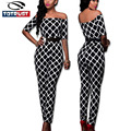 Sexy Off Shoulder Jumpsuits Rompers Womens Jumpsuit 2016 Fashion Printed Overalls for Women Combinaison Femme Salopette Femme