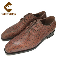 Luxury Mens Bespoke Goodyear Leather Oxfords Shoes Hipster Mens Ostrich Dress Shoes Italian Hand Made Elegant