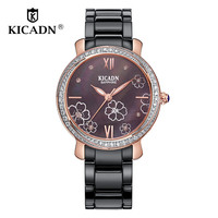Ladies Luxury Elegant Dress Watch Fashion Women Quartz Watches Ceramic Clock KICADN Flowers Print Dial Watches relogio feminino