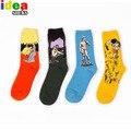 2015 Novo Mundo Famosa Pintura Da Arte e Retro Meias Calcetines Moda Padrão de algodão meias tubo Meio meias de Lazer dos homens