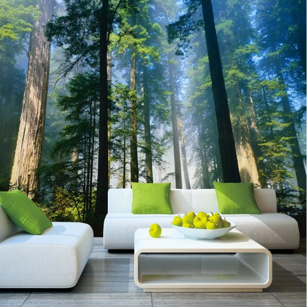 Papel Murals Forests Wallpaper Nature Fog Trees 3d Wall Photo Mural Forest Wall Paper For Background Bedroom 3D Wall Murals