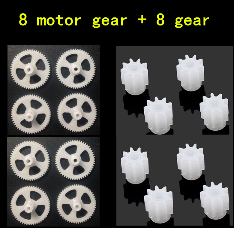 все цены на 8pcs Motor Gear + 8pcs big gear For SYMA X5C X5 X5C-1 X5S X5SC X5SW RC Quadcopter Helicopter Drone Accessories Spare Parts онлайн