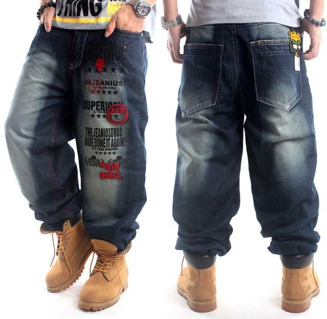 2016 de Los Hombres Más El Tamaño de Hip Hop Baggy Jeans Jean Corredores Ropa de Danza Pantalones Pantalones de Chándal Marca de Streetwear Kanye West