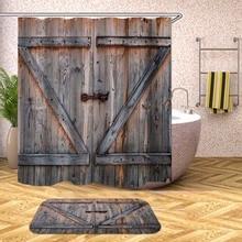 3D Bathroom Shower Curtain Wood Grain Brick Pattern Waterproof Bath Curtains for Bathtub Bathing Cover Large Wide 12pcs Hooks