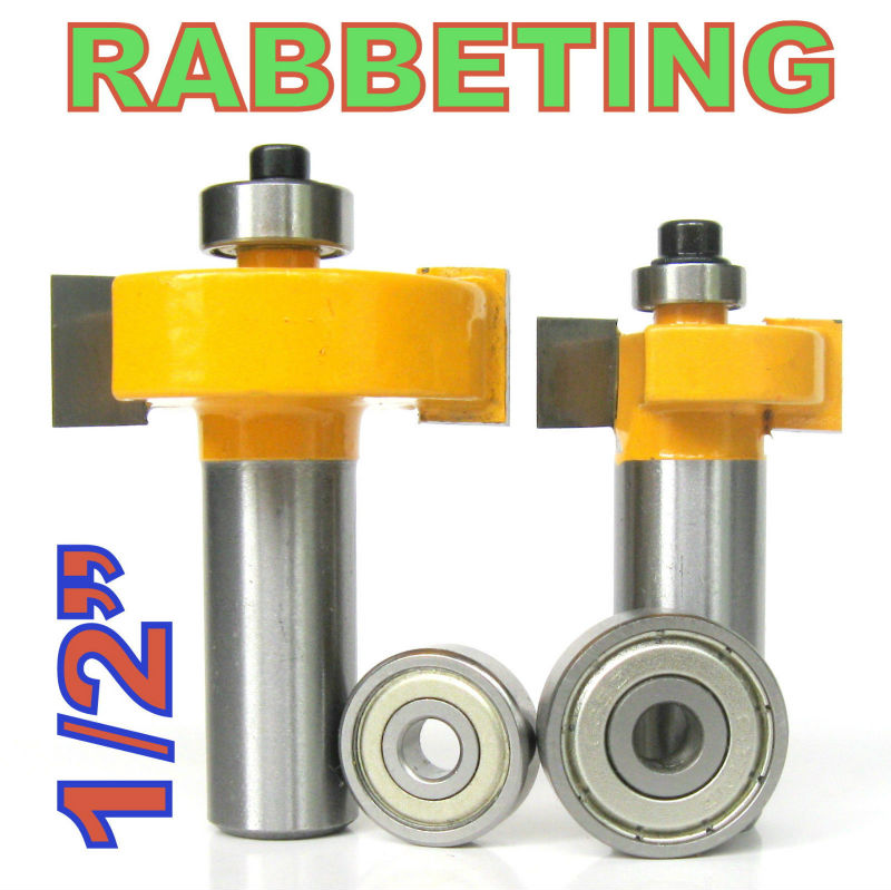 2 pc 1/2 SH 1/2, 3/8 Rabbeting & Slotting Router Bit w/2pc Bearings Set wood cutter woodworking bits wood milling cutter woodworking tool 1 2 x 3 8 end bearing rabbeting router bit cutter 2 pcs