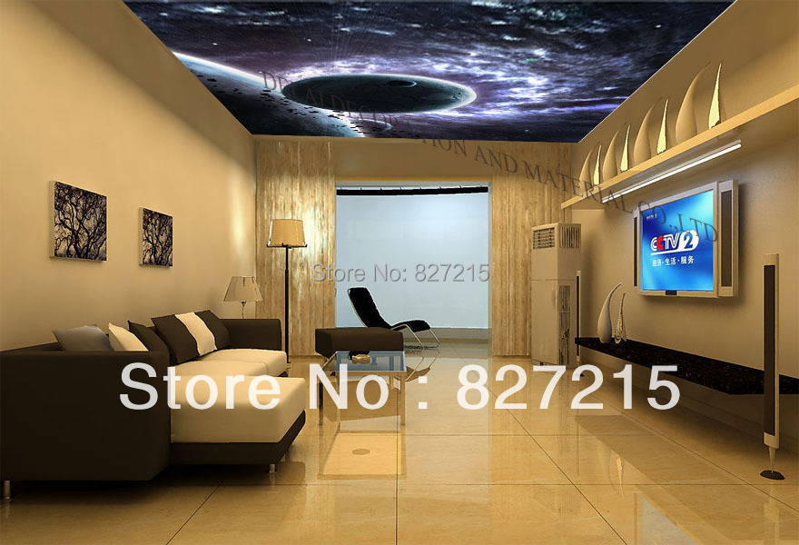 U 2176 Amazing Cosmic Explosion Printing Ceiling Film With Fluorescent Light For Living Room Decoration