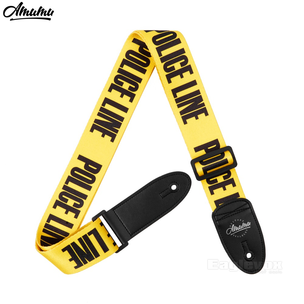 Amumu Guitar Strap for Acoustic Electric Bass Guitar Yellow Nylon Police Do Not Cross Pattern Guitar Belt 63-122 cm zebra cool skull electric guitar belt polyester acoustic folk guitar classic guitar strap for electric acoustic guitar bass