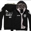 NYPD logo New Fashion Winter Warm hoodie Men Thick Hooded Warm Jacket Coat Faithful till Death zipper Policemen
