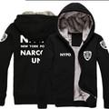 NYPD logo Nueva Moda de Invierno Cálido Hombres chaqueta Con Capucha Gruesa Capa Caliente de la Chaqueta con capucha cremallera Fiel hasta que La Muerte Los Policías