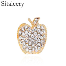 Sitaicery Wholesale New Year Brooch Pin Silver Apple Corsage Gift Rhinestone Banquet Scarf Pins Badge Ornament For Kids
