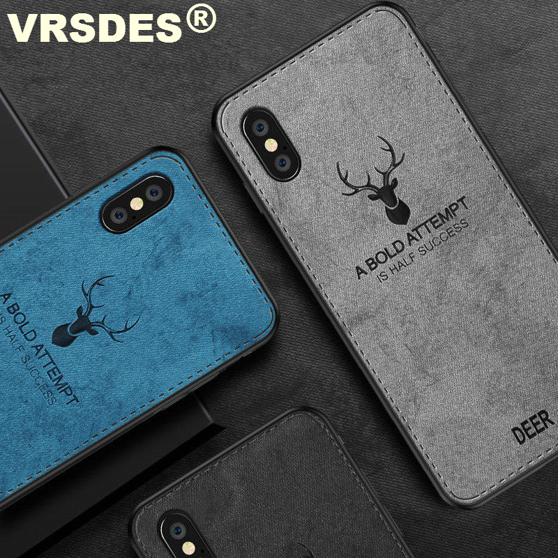 VRSDES Cloth Case For iPhone X XS MAX Ultra Thin Soft TPU Edge Shockproof Business Cover