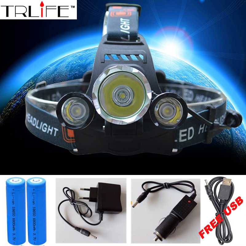 3 LED Headlight 10000 Lumens Cree XM-L T6 Head Lamp High Power LED Headlamp +2pcs 18650 Battery +Charger+car charger