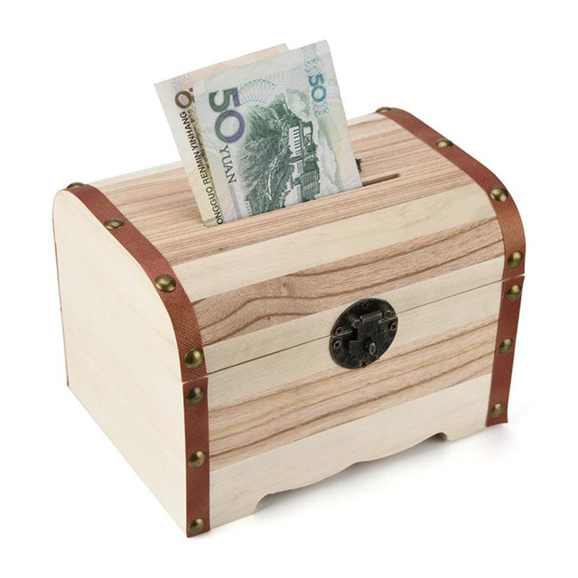 New TENSKE 1PC Wooden Piggy Bank Safe Money Box Savings With Lock Wood Carving Handmade Coin