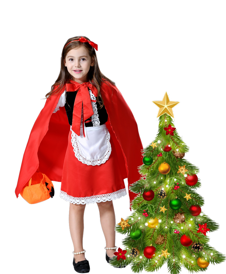 Fantasia Halloween Costume For Kids Christmas Cosplay Carnival Fancy Dress Princess Little Red Riding Hood Cloak Child Kid Girls