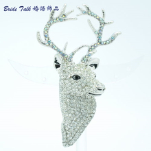 Clear Rhinestone Crystals Animal Head Deer Broach Brooch Jewelry Accessories FA3181