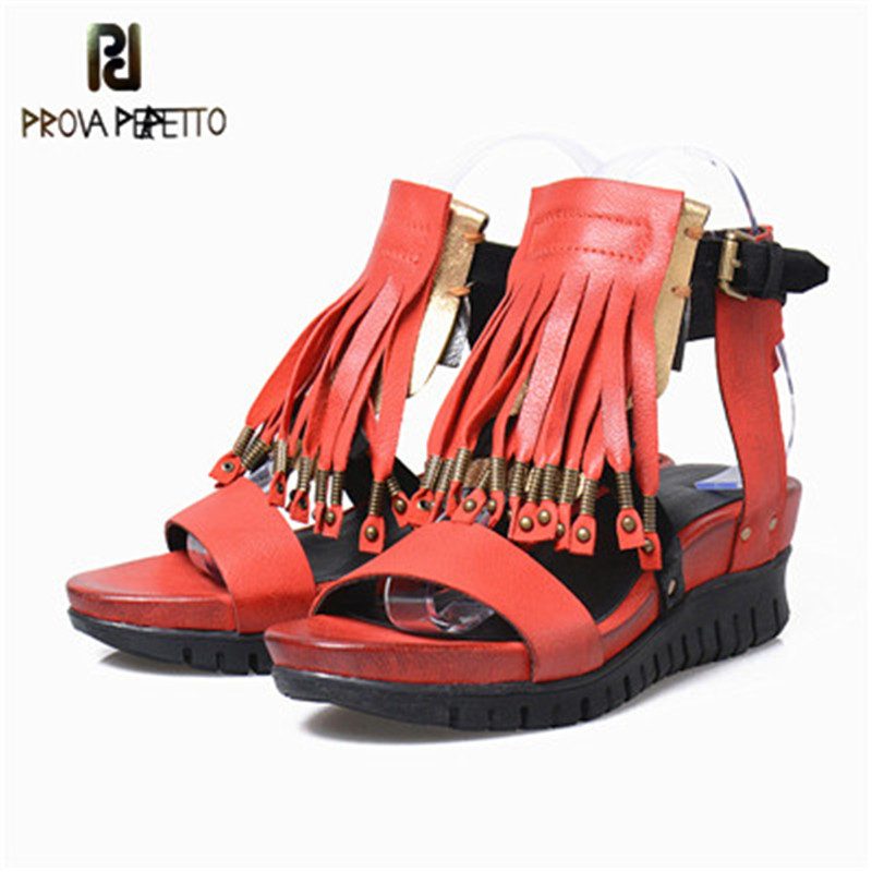 Prova Perfetto 100 Real Leather Wedge Shoe Lady Rivet Buckle Muffin Platform Sandal Spell Color All
