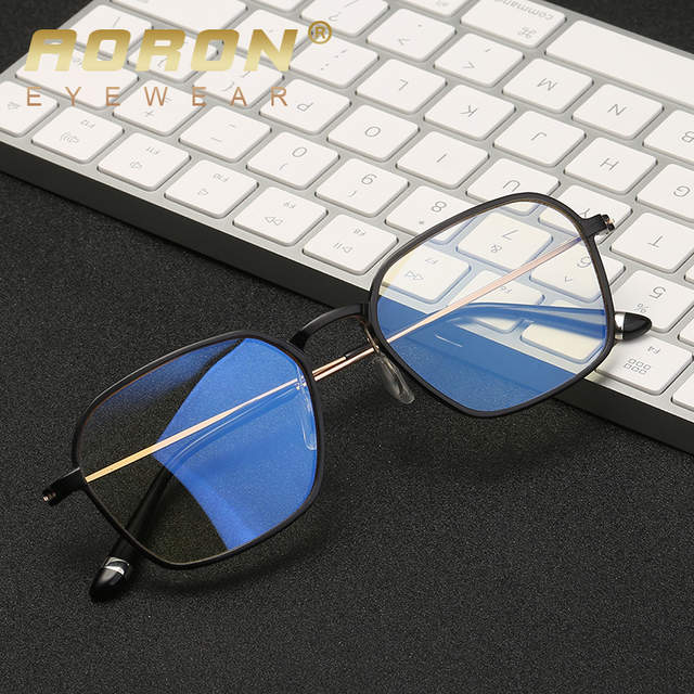 d5e2aa3f800 Online Shop AORON Aluminum magnesium Computer Glasses Anti Blue Light  Radiation Optical Print Glasses Round Eyewear Frame Glass Men   Women