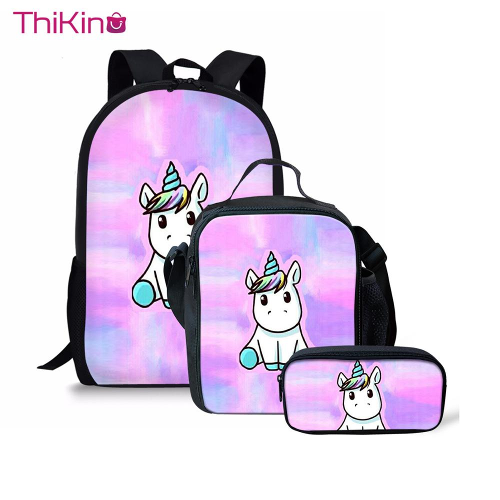 Thikin Kids Cartoon Pink Unicorn School Bags 3pcs set for Teenagers Girls School Backpack Cartoon Pattern Bookbag Lovely Satchel in Backpacks from Luggage Bags