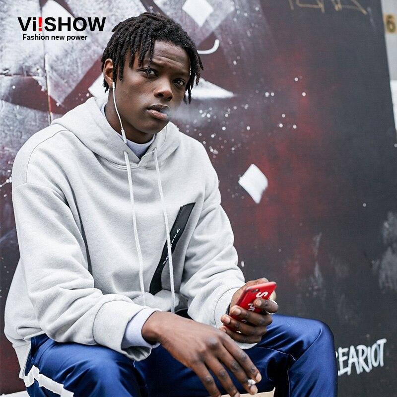 VIISHOW Newest Streetwear Clothing Mens Longline Hoodie patchwork Oversized Hoodies Hip Hop Hoodie Men sweatshirt Side fork hem