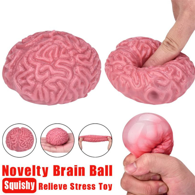 New Anti-stress Novelty Squishy Brain Toy Squeezable Fun Toys Relieve Stress Ball Cure Novel Toy gifts novedades oyuncak *30