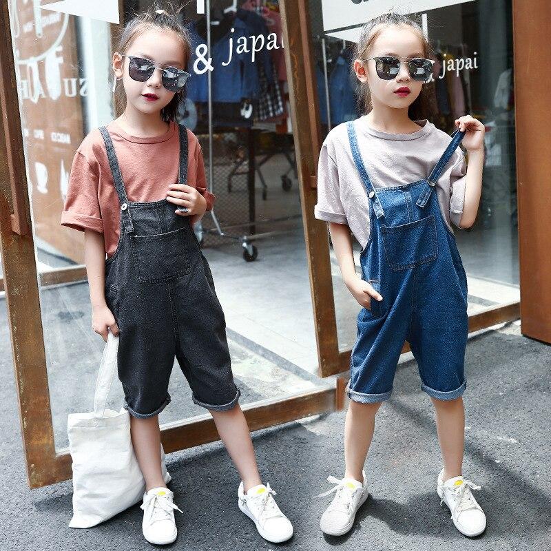 Girls Casual 2pcs Tracksuit Sets For School Girls Summer Half Sleeve Tees+Blue&Gray Denim Bib Overalls Short Pants Age 5-14Yrs игрушка ecx ruckus gray blue ecx00013t1