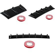 Universal Rear Bumper Lip Diffuser 3/5/7 Shark Fin Black ABS Carbon Fiber Grain Chassis Spoiler No Drilling Needed