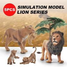 5pcs Wild Animals Lion Family Playset Jumbo Safari Jungle Animal Figurin Educational Toy Forest Farm Playsets For Baby