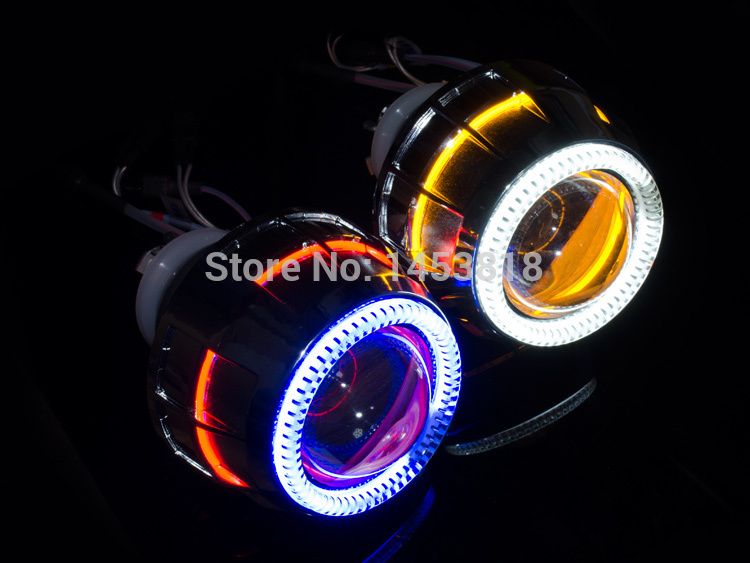 35 W Double Oeil D'ange 2.8 pouces Bi-Projecteur Lentille Lumière H4 H11 9007 H1 H7 HB4 9004 HB3 4300 K 5000 k 6000 K 8000 K
