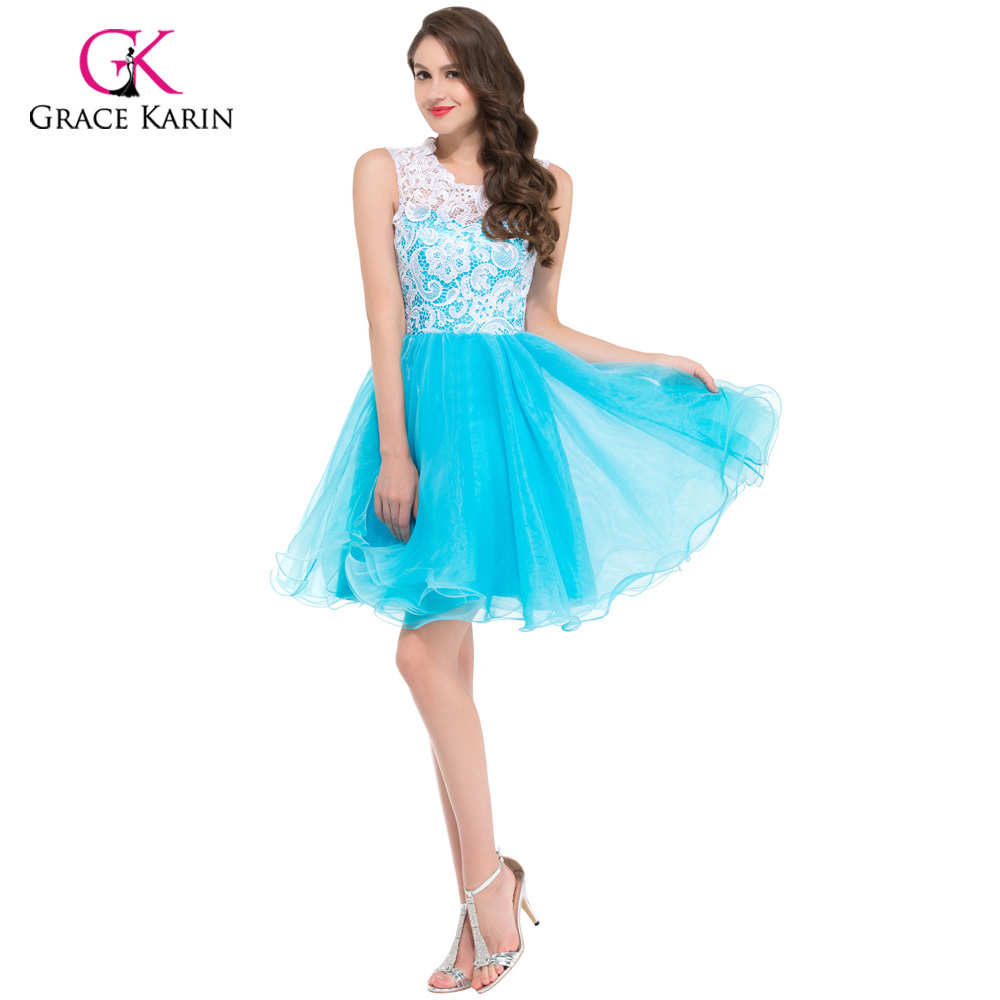 Grace Karin Cheap Blue Black Yellow Lace Short Puffy Prom Dresses ...