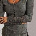 ZANZEA 2016 Весна Женщин Случайные Блузки Рубашки Дамы Простой Вышивка О Шеи Длинным Рукавом Кружева Сращивания Ти Топы Плюс Размер
