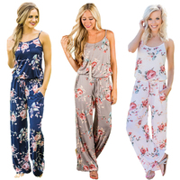 ELSVIOS Women Sexy O Neck Floral Jumpsuit Ladies Casual Jumpsuits Wide Leg Pants Strap Sleeveless Rompers