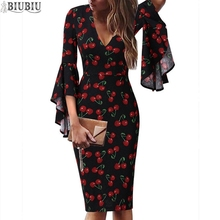 BIUBIU Floral Print Dress For Women Sexy V-neck Dot Full Flare Sleeve Boho Midi Party Womens Sheath Office Lady Vestidos