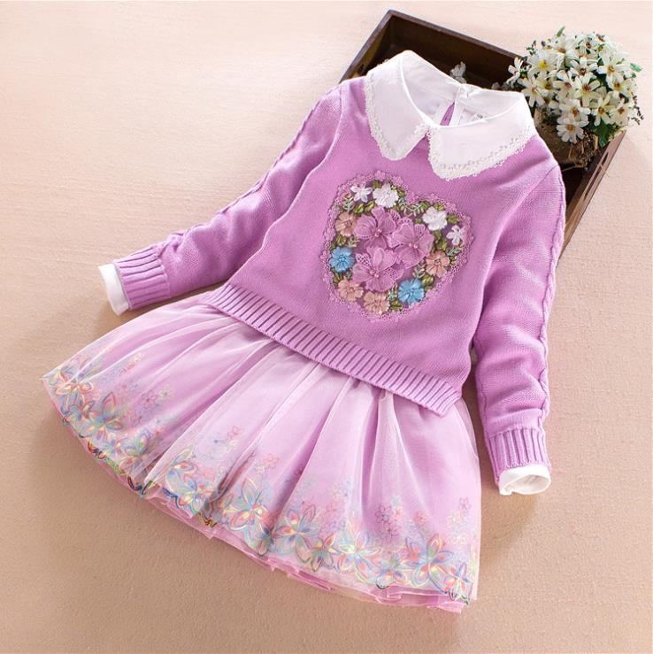 European and American autumn new 2018 Parent-child outfit Floral embroidered sweater + lapel dress Girl's suit все цены