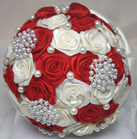 Red Artificial Silk Roses Flower Crystal bling bouquet bride jewelry pearl Brooch Bridal Wedding Bouquet