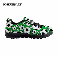 Купить с кэшбэком WHEREISART Men Shoes Summer Sneakers Breathable Football Pattern Casual Shoes Fashion Lace Up Mens Mesh Flats Shoe Men Sneakers