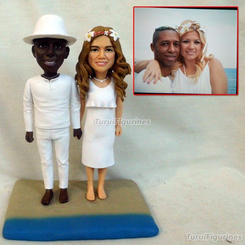 Inde interracial figurine couple amant cadeau personnalisé cadeaux présents pour petite amie son vrai visage sculpture par polymère argile