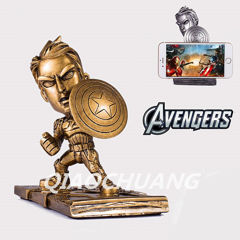 Statue Avengers Superhero Q Version Captain America Bust Car Holder Car Decoration Gift Resin Figure Collectible Model Toy W102