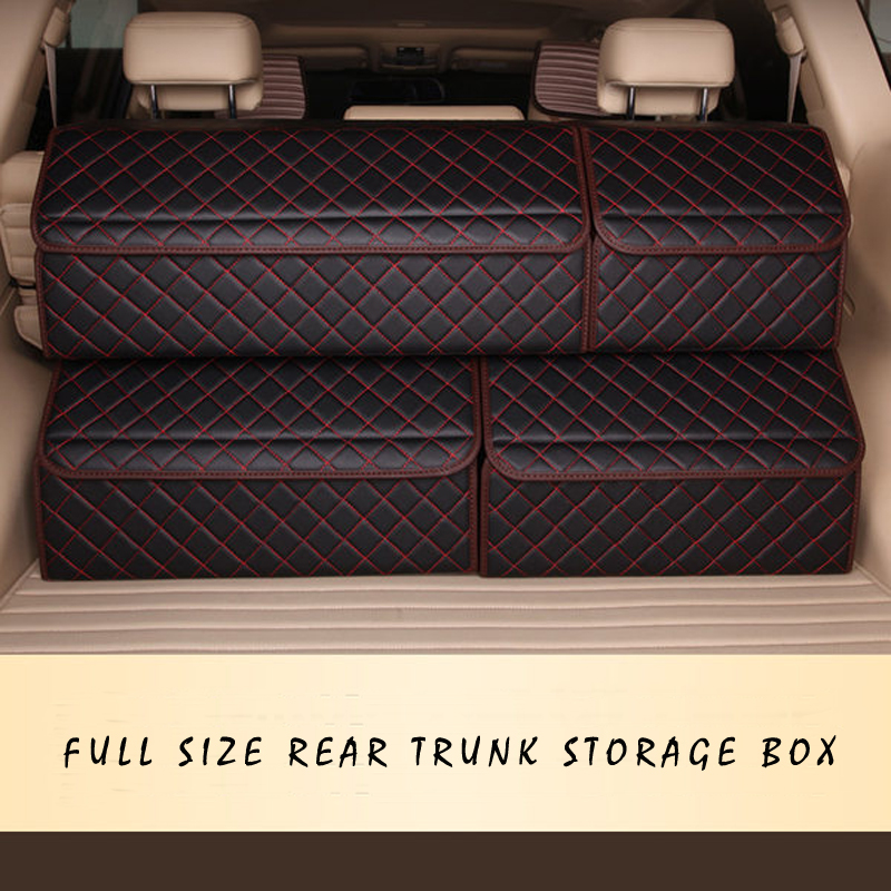 Image 5 - E FOUR Car Stowing Tidying Box Leather Cloth Large Capacity Organizer Storage Bag Folding Car Accessories Holder for Mesh Items-in Stowing Tidying from Automobiles & Motorcycles