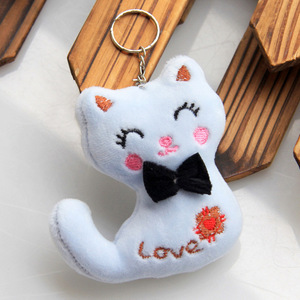 Image 3 - Size 8CM NEW Cat With Bow Plush Animal Stuffed Cat Key chain Toy Kids Party Plush Toy Bouquet Plush Dolls