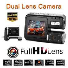 Dual Lens Car DVR Camera Full HD 1080P 2.0″LCD Dash Cam+Rear View Camera+8 IR Led Light Night Vision H.264 Video Recorder