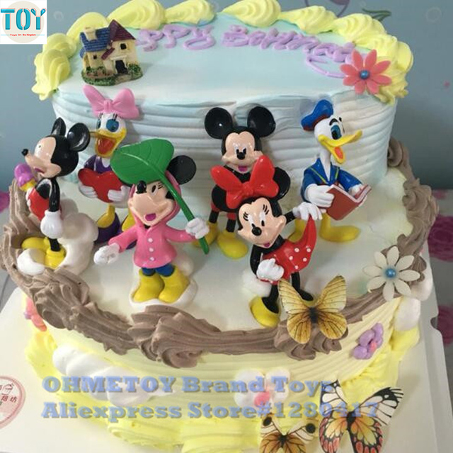 Ohmetoy 6pcs Mickey Toys Diy Minnie Mouse Donald Duck Daisy Action