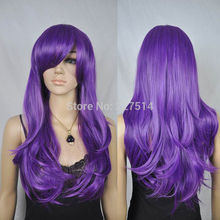 CO .MXJ01426W >new arrival women long curly wavy purple cosplay loose hair wig fancy dress wigs