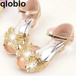 qloblo Girls Leather Bowtie Party Children Princess Sandals Kids Girls Wedding Shoes High Heels Mules & Clogs Shoes