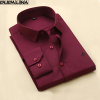 DUDALINA 2017 Autumn Male Clothes Slim Fit Men Long Sleeve Shirt Men Solid Casual Men Shirt