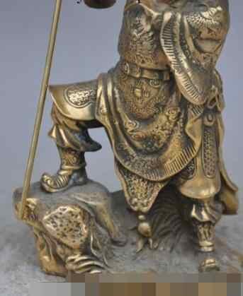"""SCY песня voge Gem S6754 9 """"китайский бронзовый медный солдат генералы Гуандун Гуань Ю держать нож Бог Статуя D0318"""