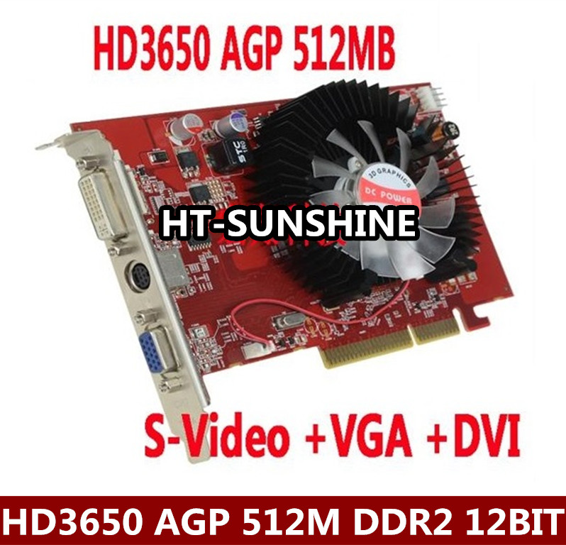 NEW original ATI HD3650 AGP 512MB DDR2 AGP 8x video graphic card with shipping dhl ems free shipping new ati radeon 9550 256mb ddr2 agp 4x 8x video card from factory 50pcs lot