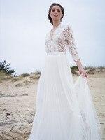 Beach Wedding Dresses 2018 A Line V Neck Elegant Lace Appliques Chiffon Plus Size Wedding Bridal Gowns Dress Vestido De Noiva