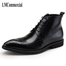 The new style of mens boots, carved by Bullock, Riding genuine winter real leather men cowhide breathable
