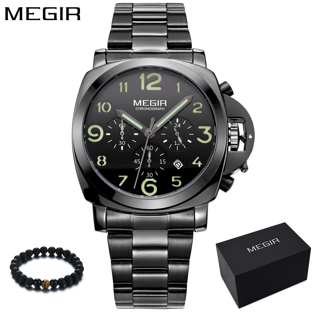Megir Black Steel Men Watch Fashion Casual Punk Watches Man Luxury Brand Sport Quartz Military Wrist Watch Men relogio masculino