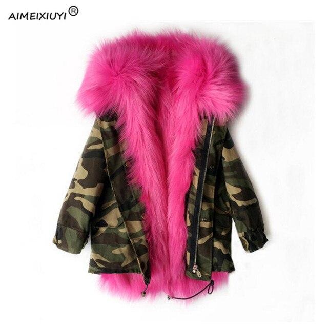31488842b0d13 Filles hiver manteau fausse fourrure de renard doublure détachable  Camouflage vestes enfants vêtements d extérieur